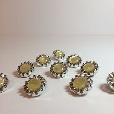 """10 Vintage Silver Plastic Sewing Buttons With Yellow Colored Plastic Gem 1"""""""