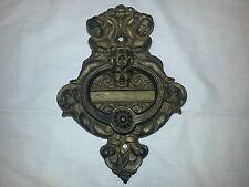 Antique Victorian  cast iron door knocker ornate with cherub putti