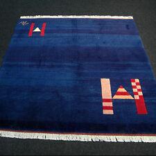 Designer Orient Teppich 163 x 152 cm Milas Avantgarde Blau Modern Blue Carpet