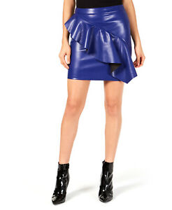 Guess | Lexie Ruffled Faux-Leather Skirt | Blue