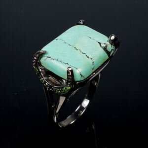 Natural Turquoise 925 Sterling Silver Ring Size 8/RR17-1913