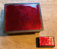 S21 Vintage Hand Wrought Copper & Red Enamel Cigarette Case Box and Match Box