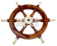 """Solid Brass Handle 18"""" Wooden Helm Ship Wheel Boat Steering Antique Wall Decor"""