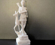 Greek Roman Goddess Artemis Diana Hunter with bow and deer Alabaster Statue