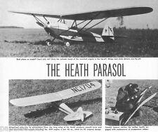 "Model Airplane Plans (FF RC): HEATH PARASOL 1-3/4""-1'  Scale 53"" for .075-.099"