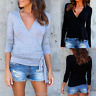 New Womens Wrap V-neck Long Sleeve T Shirt Ladies Casual Tops Blouse Tee S-2XL