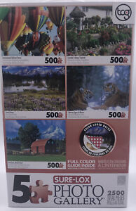 SURE-LOX 5 Deluxe 500pc Puzzles Coombe Cottage Balloons Tigers Barn Grand Teton