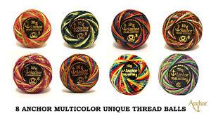 8 x ANCHOR Pearl Cotton Crochet Ball Size No 8 MULTICOLOR unique sewing Thread