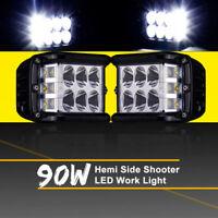 Work Cube Side Shooter LED Light Bar Spot Flood Driving Fog Pod 4'' 90W CREE 1PC