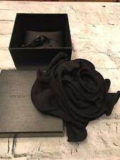 Rare! Giorgio ARMANI Couture Black Silk Huge Flower Statement Brooch Pin w Box