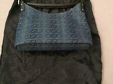 GUCCI Denim Monogram Canvas Leather Trim Handle Handbag