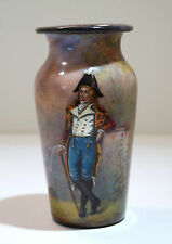 French Limoges Art Nouveau Era Enamel on Copper Vase Gentlemen Figure Circa 1900