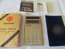 """Vintage Sharp EL-835 """"Elsi Mate"""" Super Thin Solar Cell Calculator, RARE"""