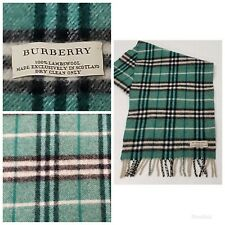 "Burberry Scarf 100% Lambswool Nova Check Tartan Forest Green Midsize 51"" x 10"""