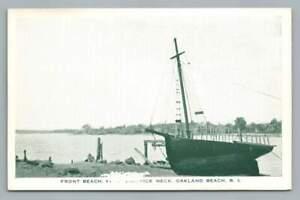 Front Beach OAKLAND BEACH Rhode Island WARWICK Neck Vintage Sailboat~1930s