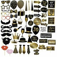 60-Pack 30th Birthday Photo Booth Props, Birthday Party Supplies, Black and Gold