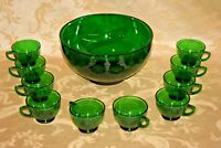 "Retro Anchor Hocking Style Festive Forest Green Glass 10"" Punch Bowl & 10 Cups"