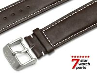 For SEIKO WATCH Brown White Stitch Smooth LEATHER Watch Strap Band Buckle Clasp