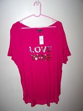 43a56cd07e8bf Lane Bryant womens 18/20 shirt short slv Pink round neckline LOVE WINS -  Gold