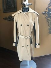 MICHAEL KORS DOUBLE BREASTED FAUX LEATHER SLEEVE/ TRENCH HOODED COAT sz 8
