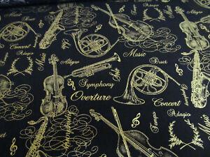 Musik  Instrumente  schwarz  gold  Timeless Baumwolle  50x110  cm