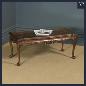 Antique English Queen Anne Style Flame Mahogany & Glass Coffee Magazine Table