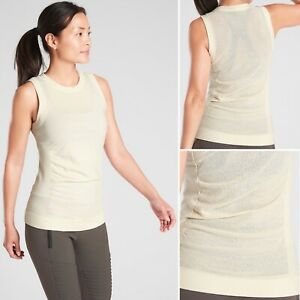 Athleta Foresthill Wool Ascent Tank SMALL Shoreline Beige Seamles Fitted Top