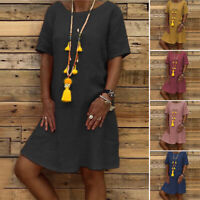 Womens Short Sleeve Long Tops Casual Holiday Shirt Dress Summer Sundress Loose