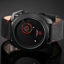 SHARK Luxury Men's Sports Date Display Leather Strap Quartz Watch Black Red Gift
