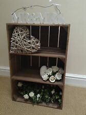 VINTAGE STYLE SHABBY CHIC WOODEN APPLE CRATE WITH 2 SHELVES, HANDMADE, STURDY