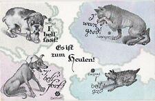 Guerre 14-18 caricature CARTE SATIRIQUE SATIRICAL EUROPE CHIENS ANTI ENTENTE