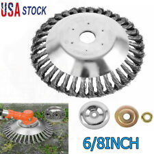 6/8 Inch Grass Strimmer Head Trimmer Brush Solid Steel Wire Wheel Garden Weed US