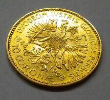 Austria-Hungary Empire 1908 Gold 10 Corona Coin KM#2810 ** UNC