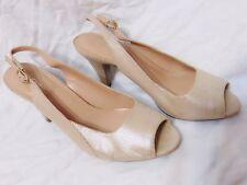 Naturalizer N5 Ivy Womens Slingback Peep Toe Cone Heel Shoes 10 M Comfort Beige