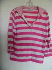 Faconnable Silk Cashmere Collar Henley Sweater M Pink Ivory Striped