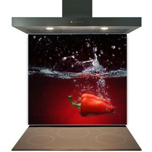 Kitchen Glass Splashback Toughened Tile Cooker Panel Any Size Red Pepper Splash