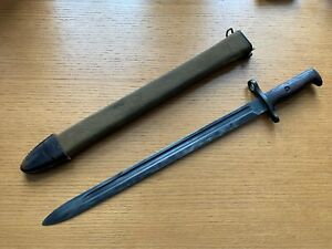 WWI  US ARMY M1905 Bayonet SA 1909 w/M1910 Canvas Covered Scabbard Good Cond.