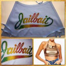 vTg 80s Beach JAILBAIT SEXY cute American Apparel womans crop HALTER top T-Shirt