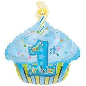 1st birthday balloon blue birthday cake cupcake shaped helium foil party balloon