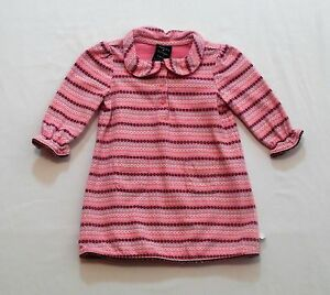 Tommy Hilfiger Pink Floral Stripes LS Ruffled Dress, 3-6 mos.