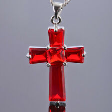 Women Red Ruby Cubic Zirconia CZ Cross Pendant Necklace Mother's Gift