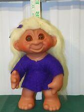 """Vintage Troll Doll Thomas Dam 1977 One Arm Articulates Long Hair 8"""" Tall 604  L5"""
