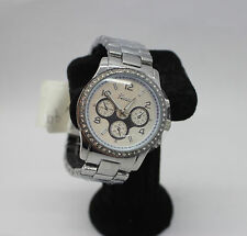 Crystal Geneva Style Watch Silver UK Seller Lady Bling Stainless Steel