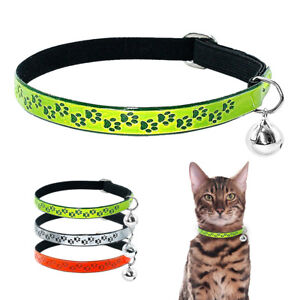 Reflective Kitten Cat Collars Fluorescent Elastic for Pet Puppy Kitty with Bell