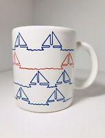 Waechtersbach Sailboat Nautical Red White Blue Coffee Cup Mug Spain 1980s