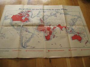 alte Weltkarte mit dem Kolonialbesitz der großen Mächte von 1942