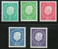 Germany 1959 MNH Mi 302-306 Sc 793-797 President Theodor Heuss **
