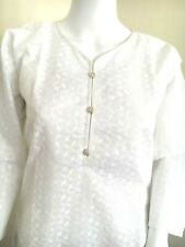 Indian Pakistani Summer  Cotton White Chicken Kurta Top Dress Size S ,M