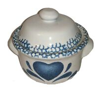 "Ceramic Covered Dish Blue White Hearts Dutch Oven Appearance 4"" Kitchen Decor"