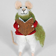 New Pair of Pin Felt Needle Felted Collectible Mice with Book & Bell Figure